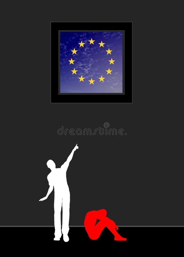 Flykting som drömmer av Europa vektor illustrationer