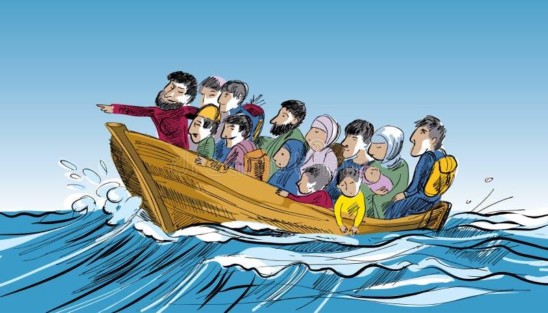 Flyktingar i ett fartyg i mitt av havet royaltyfri illustrationer