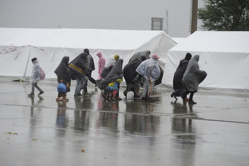 Flyktingar i Nickelsdorf, Österrike fotografering för bildbyråer