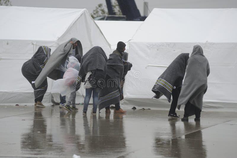 Flyktingar i Nickelsdorf, Österrike royaltyfri fotografi