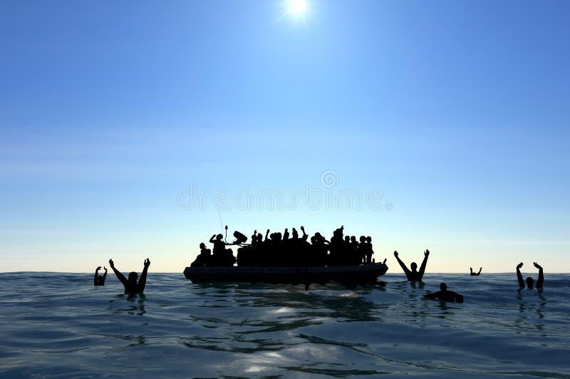 Flyktingar på ett stort gummifartyg i mitt av havet som kräver hjälp royaltyfri illustrationer