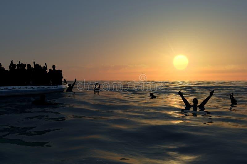 Flyktingar på ett stort gummifartyg i mitt av havet som kräver hjälp vektor illustrationer