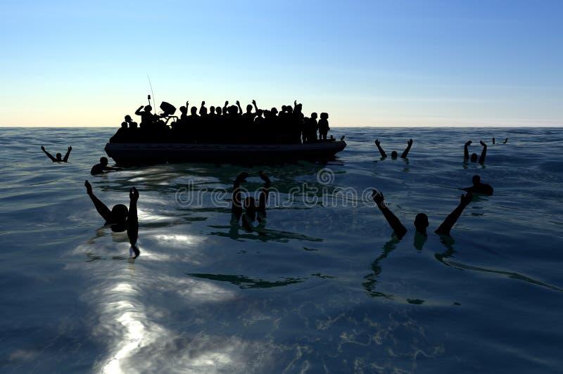 Flyktingar på ett stort gummifartyg i mitt av havet som kräver hjälp stock illustrationer