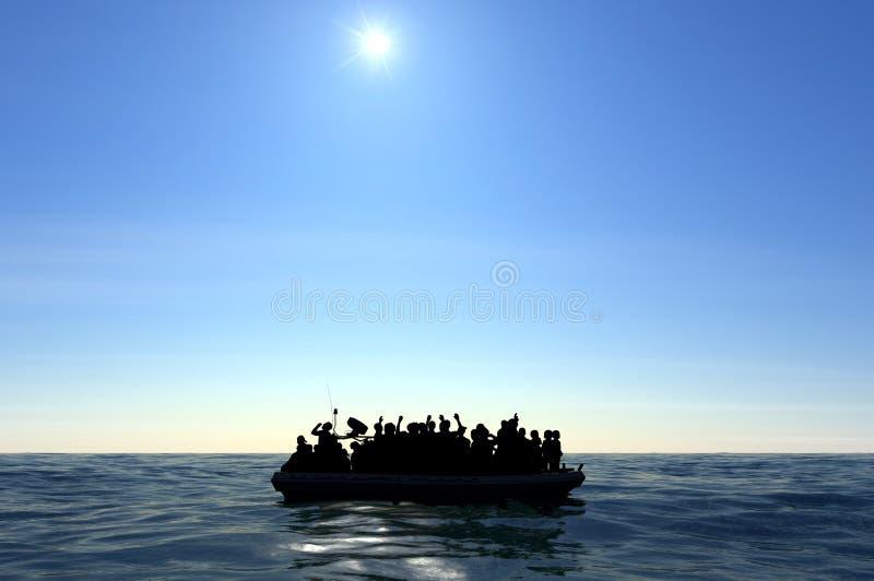 Flyktingar på ett stort gummifartyg i mitt av havet som kräver hjälp royaltyfria foton