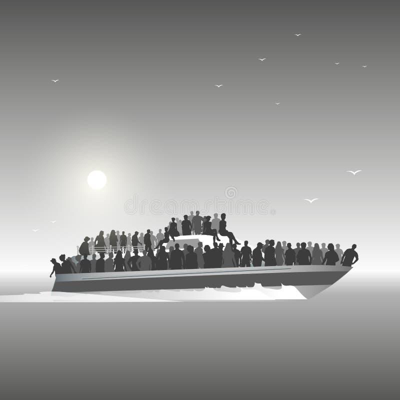 Flyktingar på fartyget stock illustrationer
