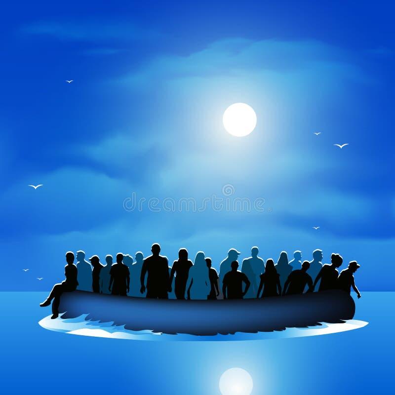 Flyktingar på pontonfartyget stock illustrationer