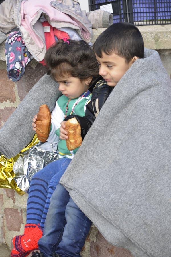 Flyktingar som ankommer på Lesvos royaltyfri bild