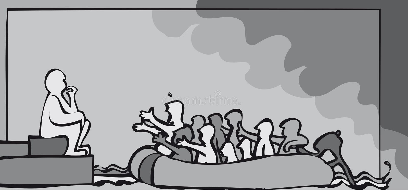 Flyktingbeslut stock illustrationer