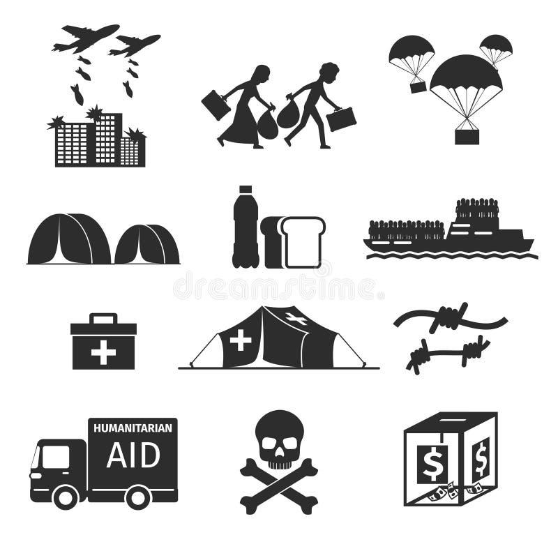 Flyktingevakuerad personbegrepp Svarta symboler för krigoffer stock illustrationer