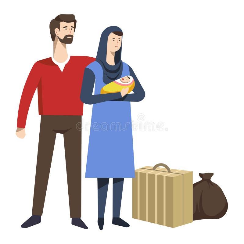 Flyktingfamiljen med nyfött behandla som ett barn och den bagageresväskan och påsen vektor illustrationer