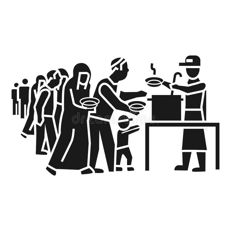Flyktingfolket tar matsymbolen, enkel stil vektor illustrationer