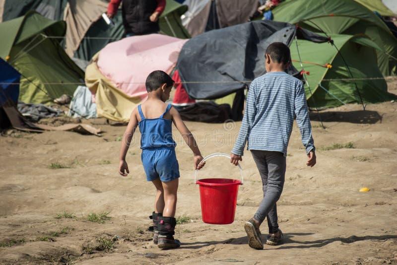 Flyktingkris i Europa arkivbilder