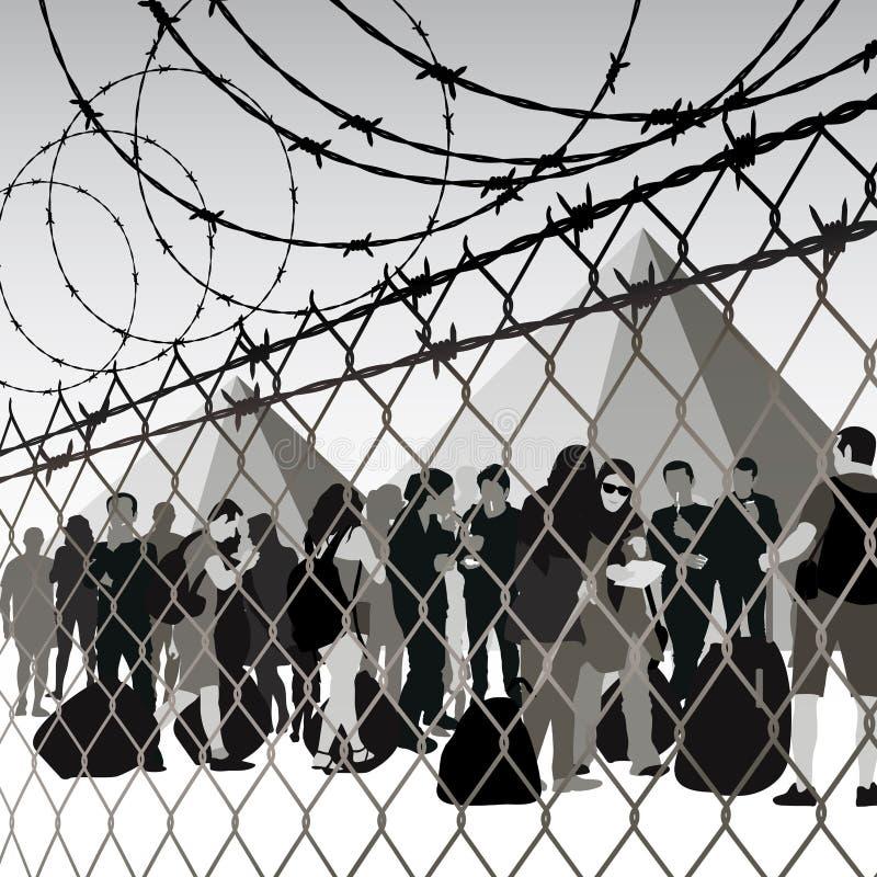 Flyktingläger stock illustrationer