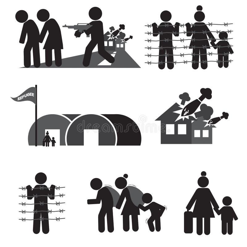 Flyktingsymbolsuppsättning stock illustrationer