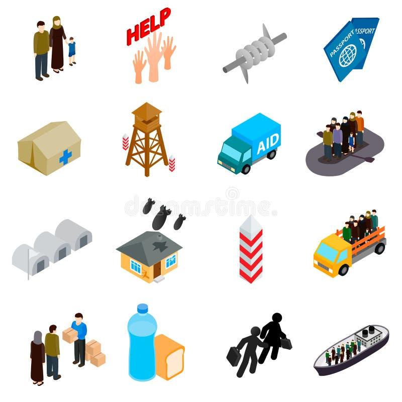 Flyktingsymbolsuppsättning, isometrisk stil 3d royaltyfri illustrationer