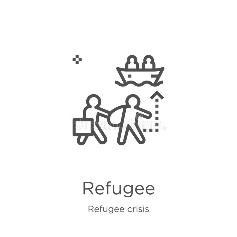 flyktingsymbolsvektor från flyktingkrissamling Tunn linje illustration för vektor för flyktingöversiktssymbol Översikt tunn linje royaltyfri illustrationer
