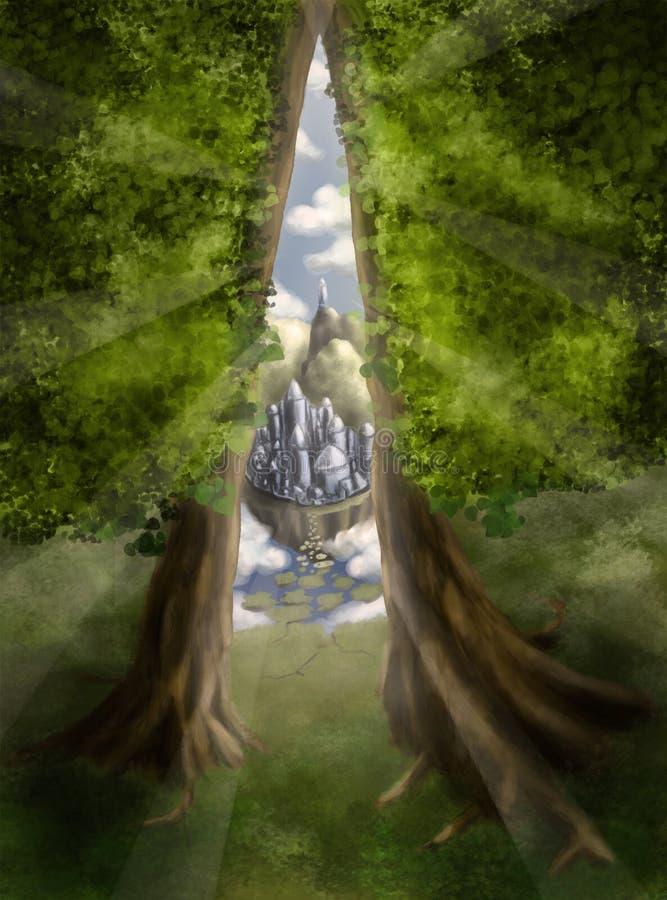 Flyktrutt till den magiska världen stock illustrationer