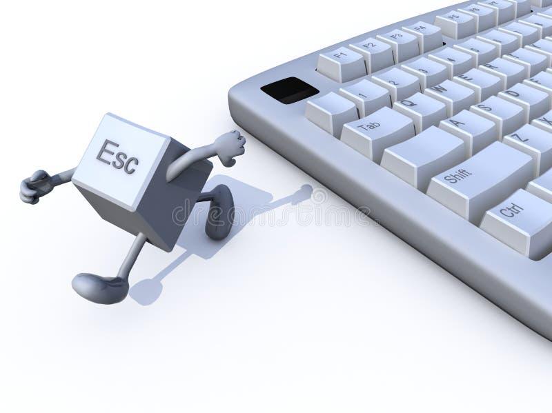 Flykttangent som körs i väg från ett tangentbord royaltyfri illustrationer