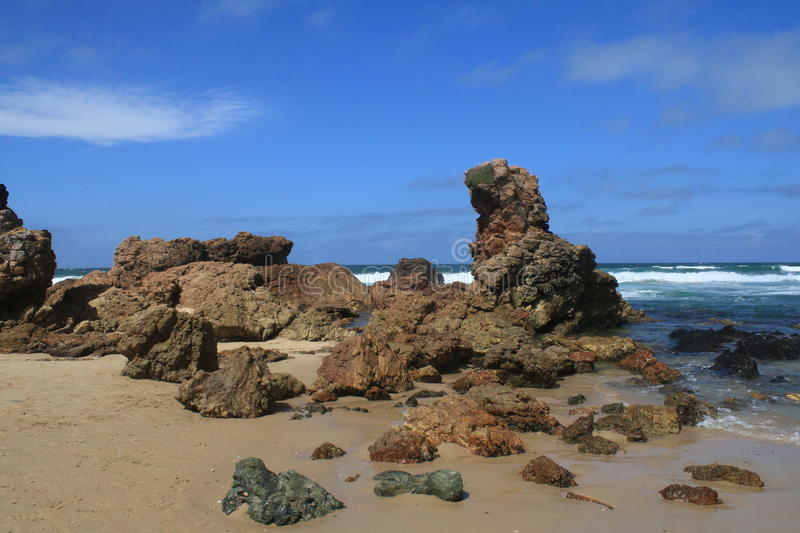 Flynn's Beach NSW. The rocky shores of Flynn's Beach, NSW royalty free stock photo