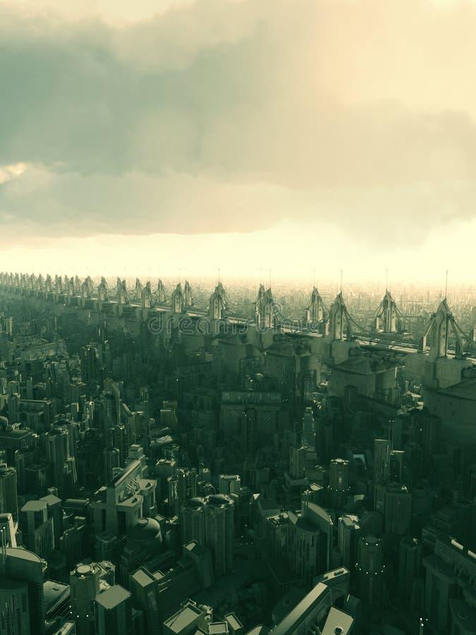 Будущий город Skyway бесплатная иллюстрация