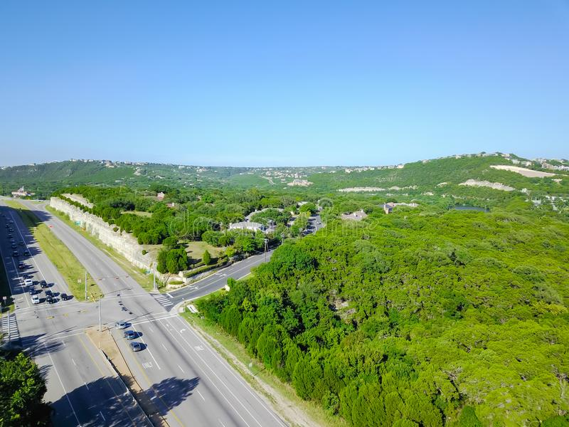 Flyover green North Capital of Texas Highway in Austin, Texas, U. Aerial view green North Capital of Texas Highway and tree lushes landscape of Hill Country stock image