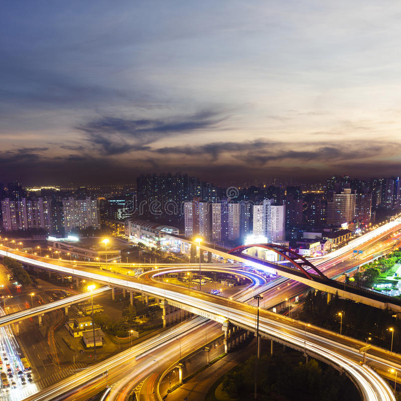 Download Flyover In Modern City At Night Stock Image - Image: 32068257