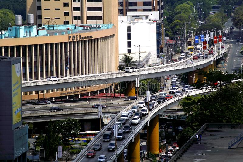 Flyovers at the intersection of Ortigas Avenue and Epifanio Delos Santos Avenue or EDSA in Quezon City, Philippines. QUEZON CITY, PHILIPPINES - JUNE 15, 2017 stock photography