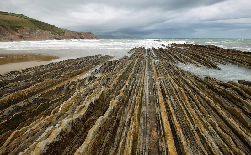 Flysch Coast in Zumaia, Basque country, Spain. Zumaia geology special coast, the famous Flysch Coast in Northern Spain stock photography