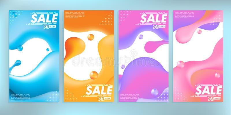 Flytande färgade det abstrakta moderna grafiska försäljningsbanermaterielet vektor illustrationer