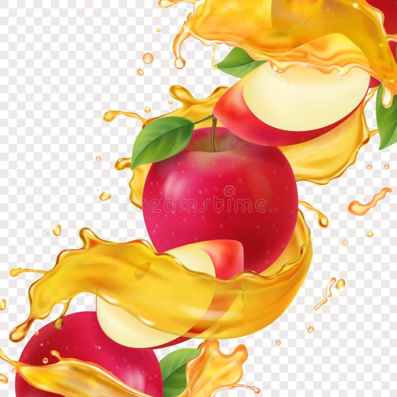 Flytande för nytt fruktsaft som realistiskt vitamin för illustration för Apple söt flödar i rörelse och röda äppleskivor stock illustrationer