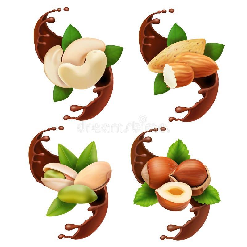 Flytande smältta hällande choklad och muttrar Hasselnöt pistasch, mandel, realistisk uppsättning för kasju royaltyfri illustrationer