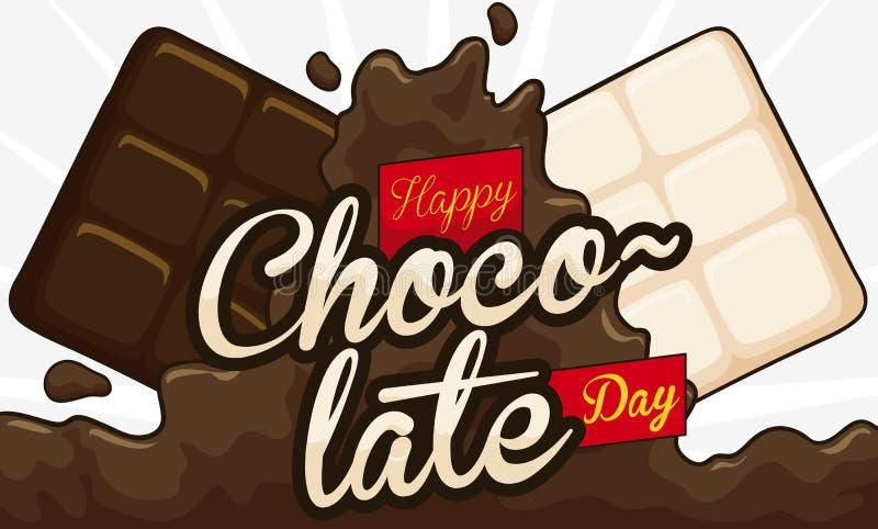 Flytande-, vit- och mörkerkakaostänger som firar chokladdagen, vektorillustration stock illustrationer