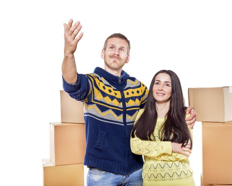Flytta en ny familj arkivfoton