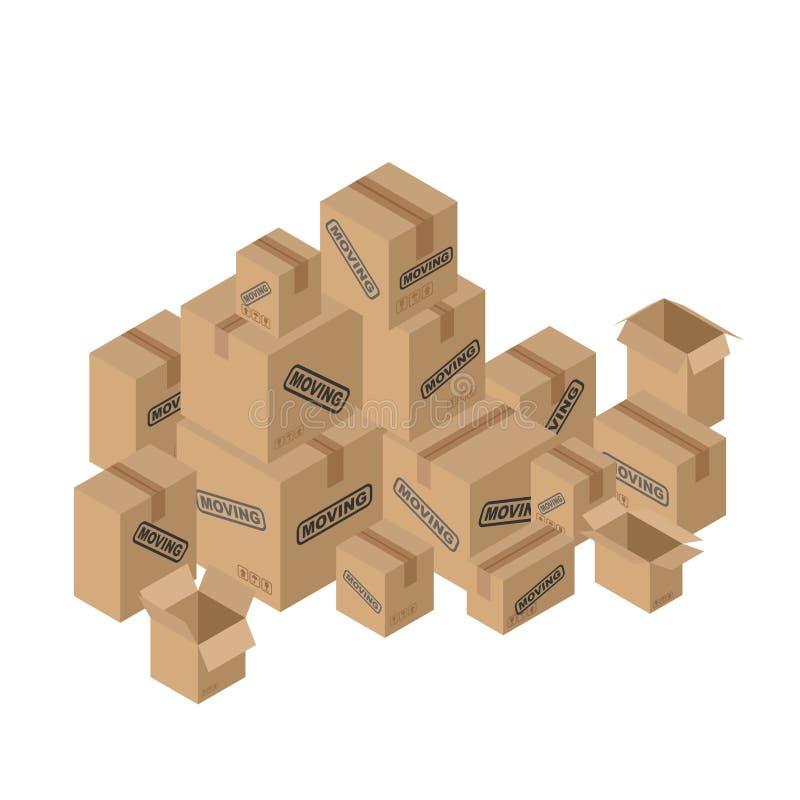 Flytta många av kartonger Pappers- förpacka för saker vektor illustrationer