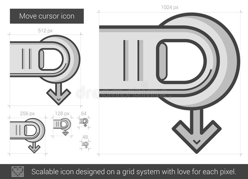 Flytta markörlinjen symbol vektor illustrationer