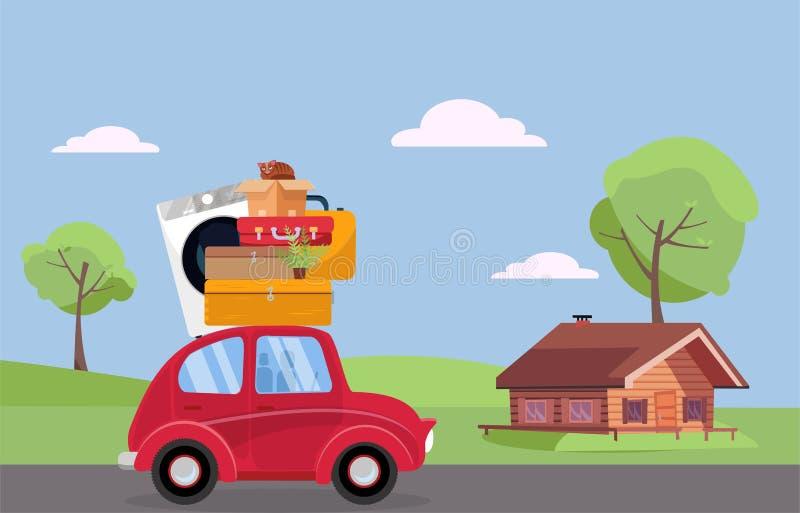 flytta sig f?r begrepp Röd tappningbil med resväskor, tvagningmaskinen och växten på taket som kör till trähuset Plan tecknad fil royaltyfri illustrationer