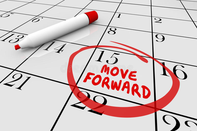Flytta sig gör framåtriktat framsteg det för- kalenderdagdatumet 3d Illustra vektor illustrationer