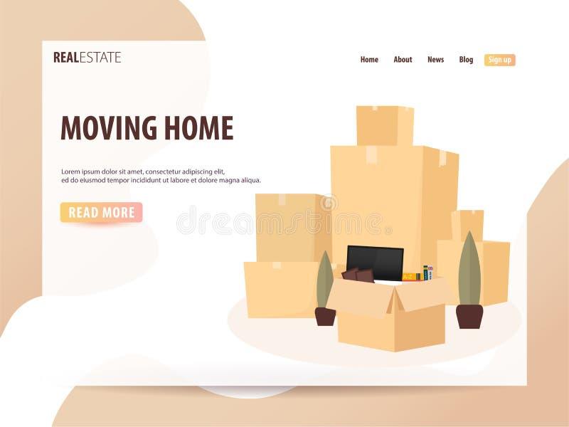 Flytta sig hem, är vi rörda Rörande lastbil med askar Illustration för vektortecknad filmstil UI eller landningsida royaltyfri illustrationer