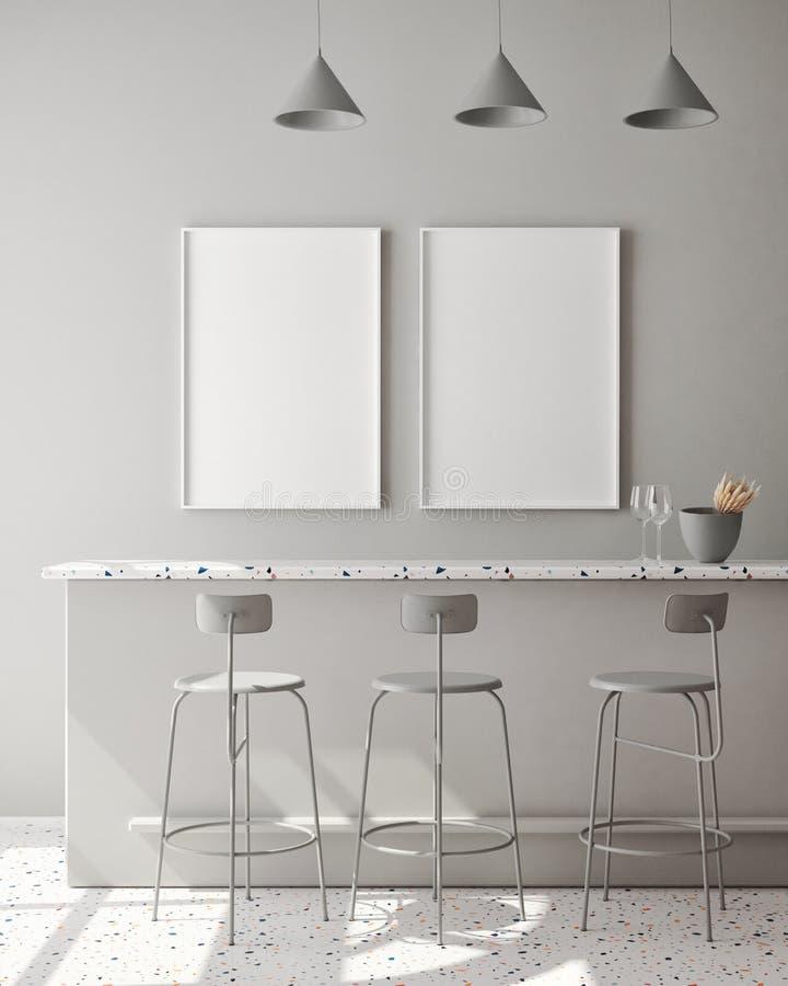 Flytta upp affischbildruta i modern monokrom inre bakgrund, vardagsrum, skandinaviskt format, 3D-rendering, 3D-illustration stock illustrationer