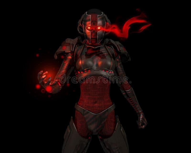 flyttad fram cyborgsoldat royaltyfri illustrationer