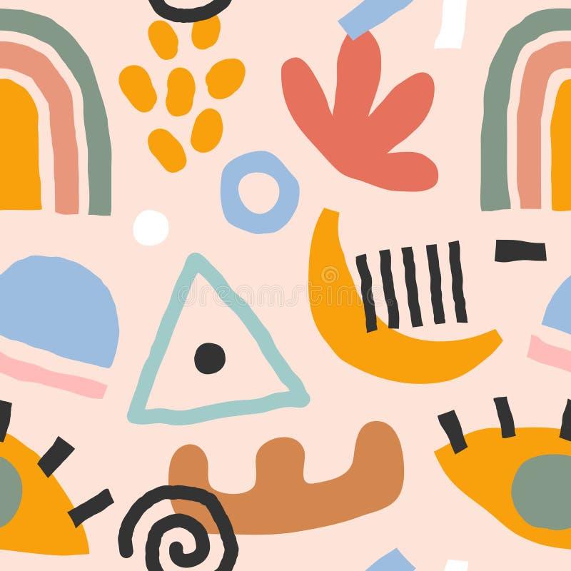 Flyttade, samtida abstrakta element som är sömlösa vektormönster Abstraktionsdockor och -former på färgad bakgrund vektor illustrationer