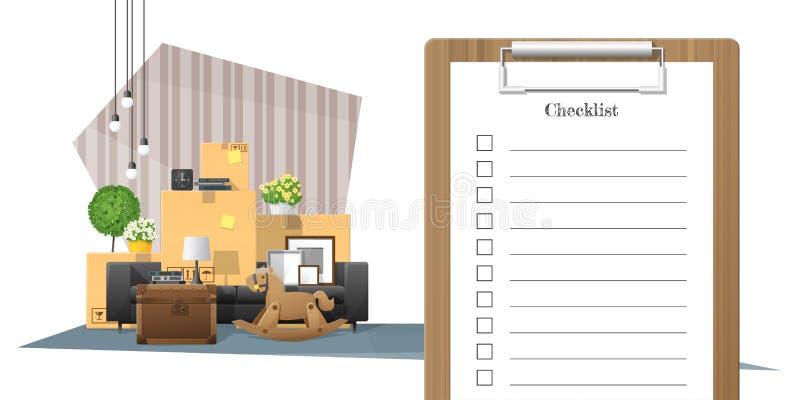 Flyttande hem- begrepp med granskningsskrivplattan och högen av möblemangbakgrund vektor illustrationer