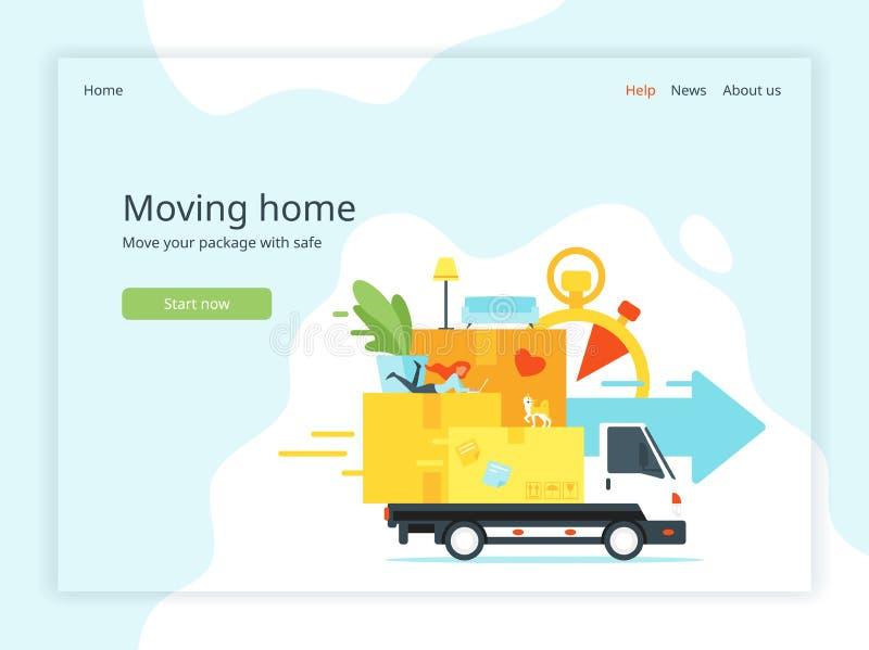 flyttande hem- landningsida vektor illustrationer