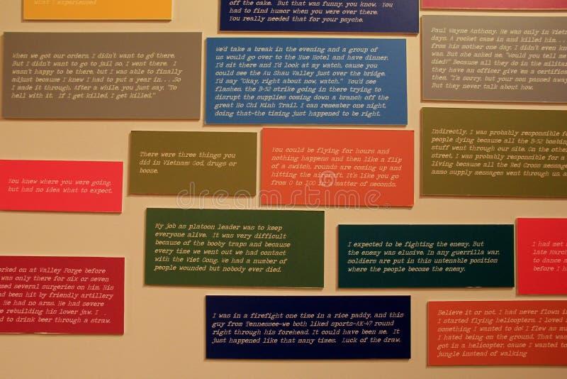 Flyttande ord av veteran, som bodde till och med Viet Nam War, militärt museum för den New York staten och veteranforskningscentr arkivfoton