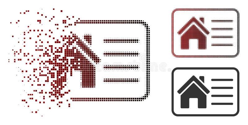 Flyttande prickig rastrerad för informationskort om hus symbol stock illustrationer