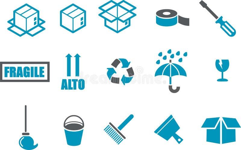 flyttande set för symbol vektor illustrationer