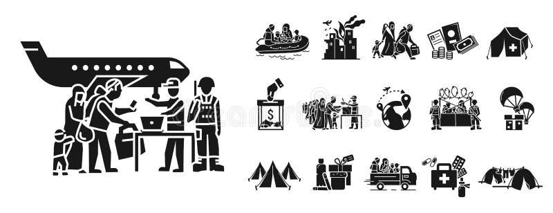 Flyttande symbolsuppsättning, enkel stil vektor illustrationer
