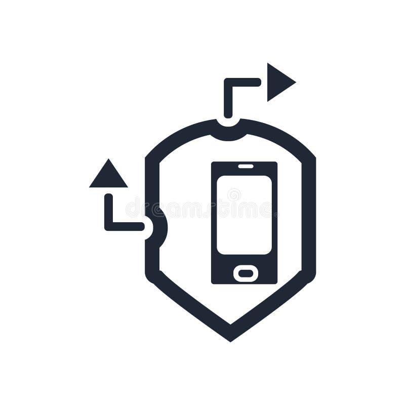 Flyttande tecken och symbol för försäkringsymbolsvektor som isoleras på vitt b vektor illustrationer