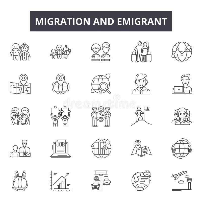Flyttningsutvandrarelinje symboler, tecken, vektoruppsättning, översiktsillustrationbegrepp vektor illustrationer