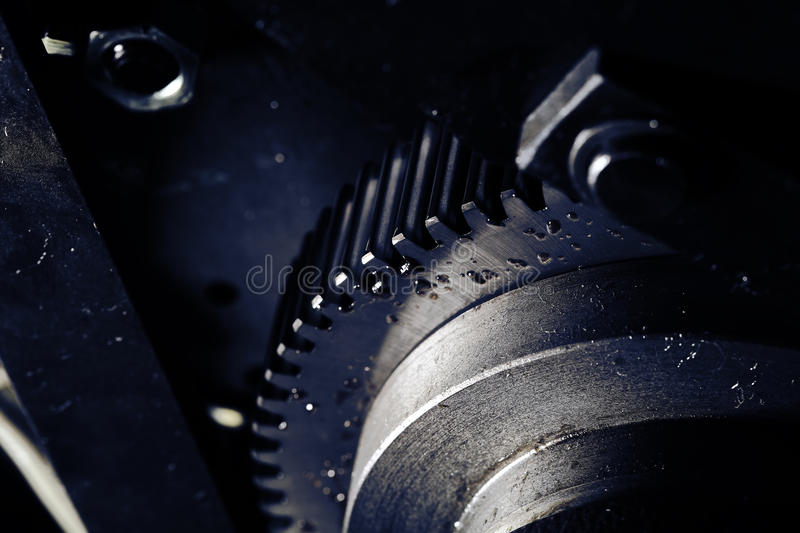 Flywheel with oil drops close-up stock images